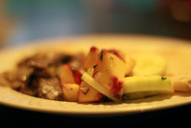 peach and cucumber salad