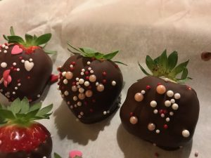 Valentine decorated chocolate covered strawberries